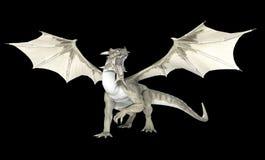 White dragon. Isolated on black Royalty Free Stock Photos