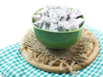 White dragon fruit high nutrient cut in ceramic bowl selective focus Stock Images
