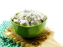 White dragon fruit high nutrient cut in ceramic bowl selective focus Royalty Free Stock Photography