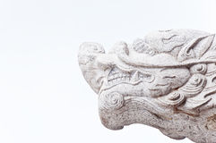 White dragon head statue. Which made of marble  is adorned inside a Chinese temple Royalty Free Stock Photos