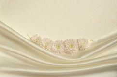 White draped fabric with asters. For background Royalty Free Stock Photography