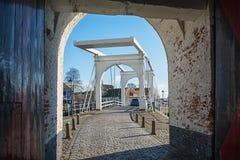 White drawbridge in the historic town of Zierikzee Stock Photo