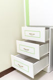 3 white drawer with some green line Stock Images