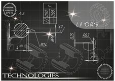 Machine-building drawings on a black background Royalty Free Stock Images