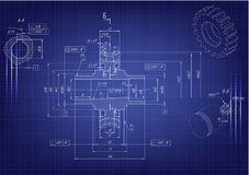 Machine-building drawings on a blue background Royalty Free Stock Photo