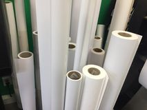 White drawing paper rolls. Indoors Royalty Free Stock Photos