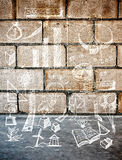 White drawing sketch accessory design on block concrete wall Stock Photos