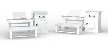 White drawing table with bench and cabinet set , clipping path i Royalty Free Stock Photography
