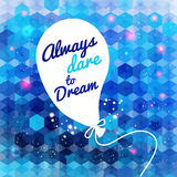 White drawn balloon with message on the blue hexag Stock Image