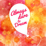 White drawn balloon with message on the lovely hex Royalty Free Stock Photos