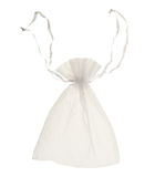 White drawstring bag packaging isolated Stock Photo