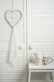 White dream catcher with mugs. In bedroom interior. Wedding composition Royalty Free Stock Image