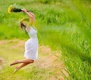 White dress, barefoot girl Royalty Free Stock Photography