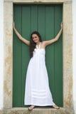 White Dress, Green Door. Stock Photos