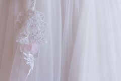 White dress lace. Lace on white dress trail Stock Photography