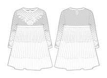 White dress with seam at waist and flared skirt. Front and back view of a white dress with seam at waist and flared skirt stock illustration