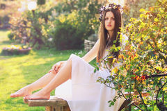 White dressed beautiful nymph Stock Photo