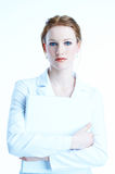 white-dressed businesswoman Royalty Free Stock Photo