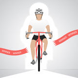 White dressed cyclist in front view crossing red finish line  isolated Stock Photo
