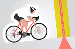 White dressed cyclist riding upwards to finish line  isolated Stock Photo