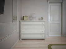 White dresser in bedroom with cream walls Royalty Free Stock Photos