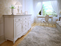White dresser in classic bedroom Stock Images