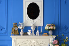 White dresser with mirror in the room.  Stock Photography