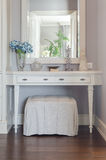White dressing table with mirror Stock Image