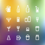 White drink icons clip-art on color background Royalty Free Stock Photos
