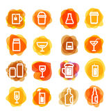 White drink icons clip-art on color blots Royalty Free Stock Images