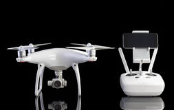 White drone against black background. Royalty Free Stock Photo