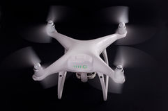 White drone against black background Royalty Free Stock Photos