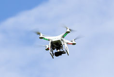 White drone flying Royalty Free Stock Image