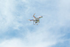 White drone hovering Royalty Free Stock Images
