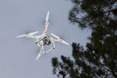 White drone hovering Royalty Free Stock Photo