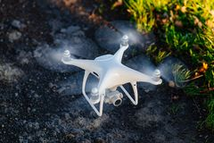 White drone quadcopter with camera i Stock Images