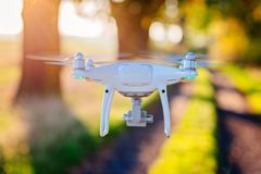 White drone quadcopter with camera i Royalty Free Stock Image