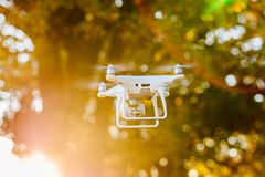 White drone quadcopter with camera i Stock Photo