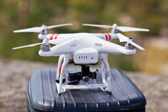 White drone stay on bag and ready to fly.  Royalty Free Stock Photography