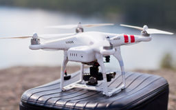 White drone stay on bag and ready to fly.  Royalty Free Stock Photo