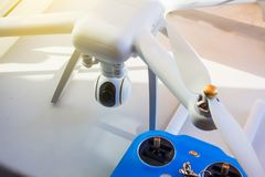 White drone,  travel gadget. Gadget Royalty Free Stock Photos