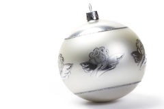 White dull christmas ball with angel painting Stock Images