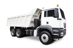 White Dump Truck. A Big White Dump Truck Isolated on White Stock Photography