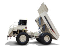 White dump truck  on white background. Image of white dump truck with big body,  on white background Stock Photography
