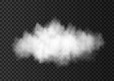 White  dust  cloud   on transparent background. Smoke  or  steam explosion special effect.  Realistic  vector fire fog or mist texture template Stock Photography