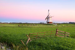 White Dutch windmill at sunrise Stock Image