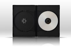 White DVD Disc one side in Black plastic case Royalty Free Stock Image