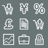 White e-business web icons. Vector web icons, white contour series Royalty Free Stock Photos