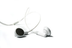 White earphones 2. White earphones for mp3-player on white background royalty free stock photos