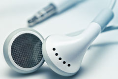 White earphones. With the jack royalty free stock image